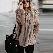 Moda sólido Delgado Faux Fur Coat mujeres 2018 Casual otoño invierno cálido  suave Fleece manga larga gruesa peluche abrigo chaqu. 646c3e96bc2a