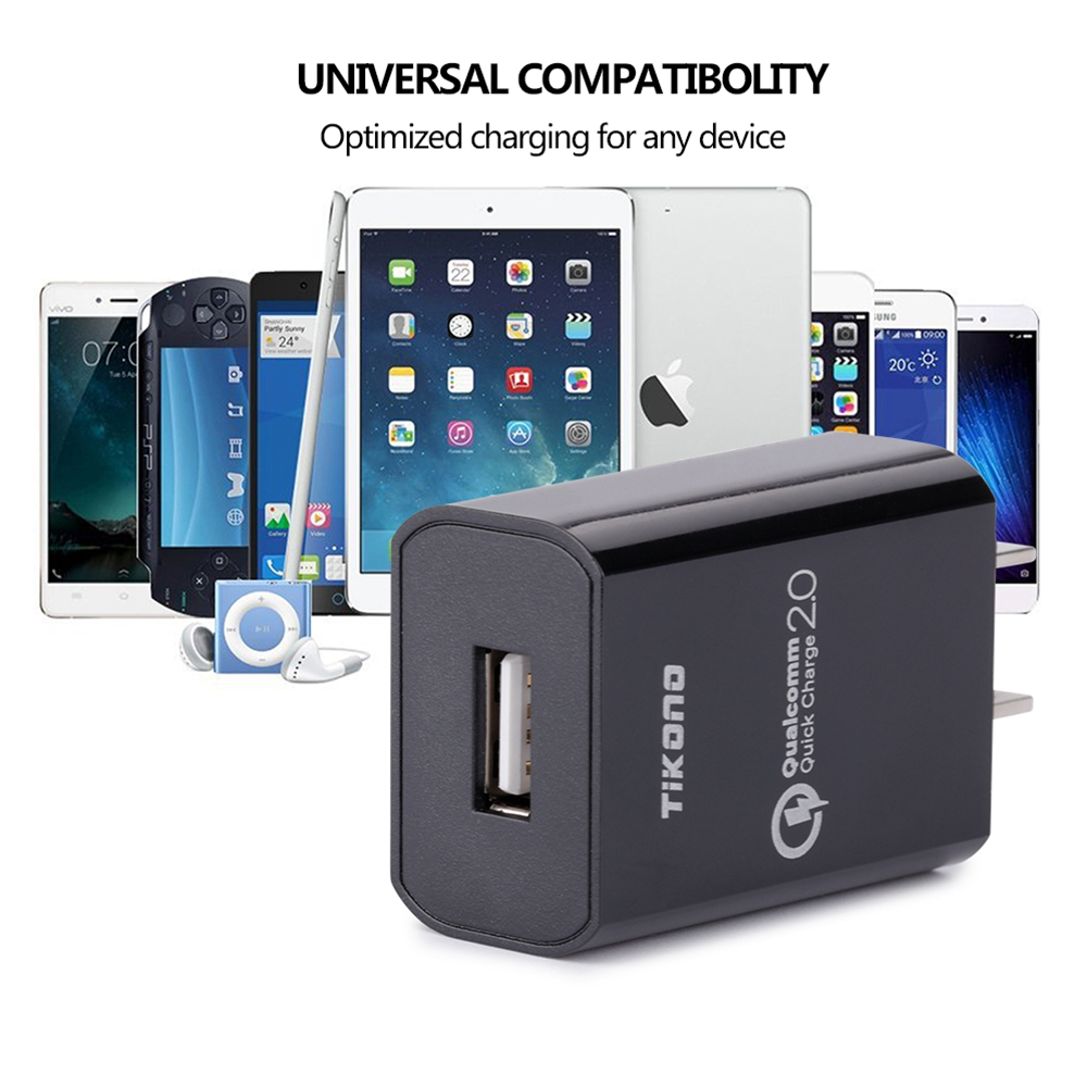 Tikono Telefon USB-laddare Quick Charge 2.0 USB Reseladapter Adapter - Reservdelar och tillbehör för mobiltelefoner - Foto 4