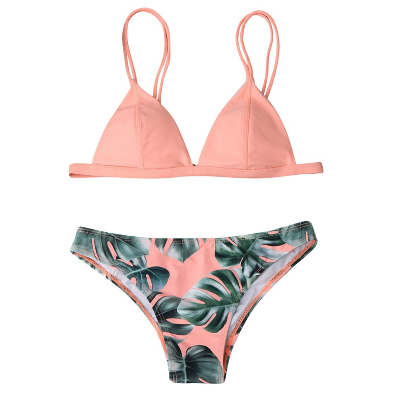 Bra     Sets   Sexy Swimwear Bikini Women   Set   Print Leaves Push-Up Padded Low Waist Lady Wire Free   Bra     Brief     Set