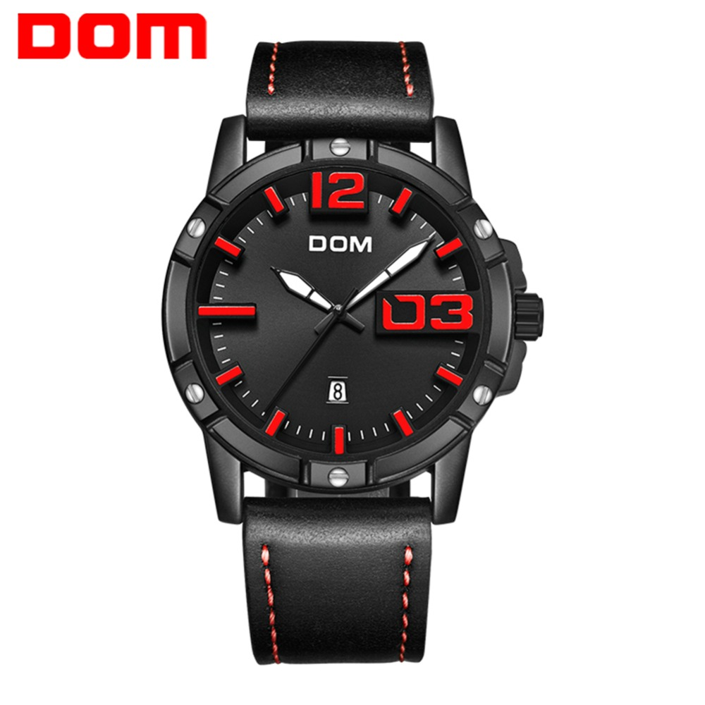 DOM Watch Men Luxury Sport Quartz wristwatch clock Mens Watches Leather Business Waterproof watch Relogio Masculino M-1218BL