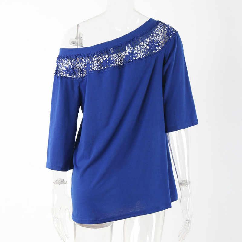 iRicheraf Blusas Femininas 2017 Autumn Women's Fashion Sexy Slim Lace Shirt Tops Bodysuit Three Quarter Sleeve Leisure Blouse