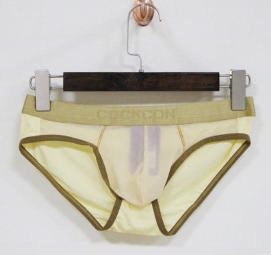 Hot Selling!1pcs Brand COCKCON Net Underwear Men's Grenadine Briefs Gay Underwear Sexy Model Solid Underwear Gold Belt Underwear