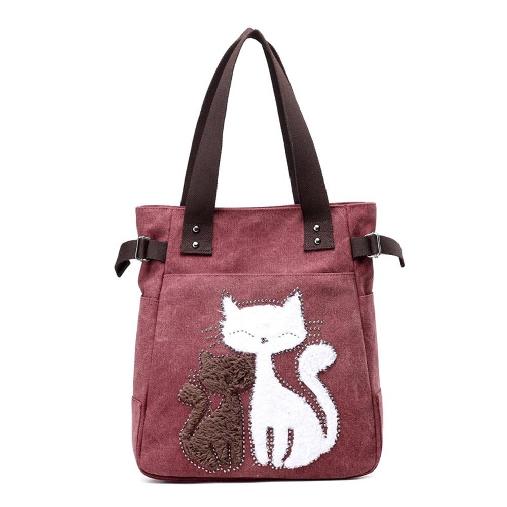 Women's Canvas Tote Bags Cartoon Cat Design Handbag Ladies Large Shopping Bag Bag Bolsa