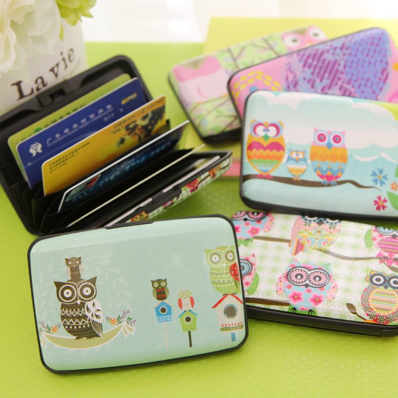 Kawaii Owl 7 Pockets Plastic Box Design Card Cover Bus Bank Id Card Case Holder Creative Zakka Stationery Office School Supplies