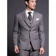 Custom Made Mens Suits Groomsmen Notch Lapel Groom Tuxedos Grey Wedding Best Man Suit (Jacket+Pants+Vest) A28