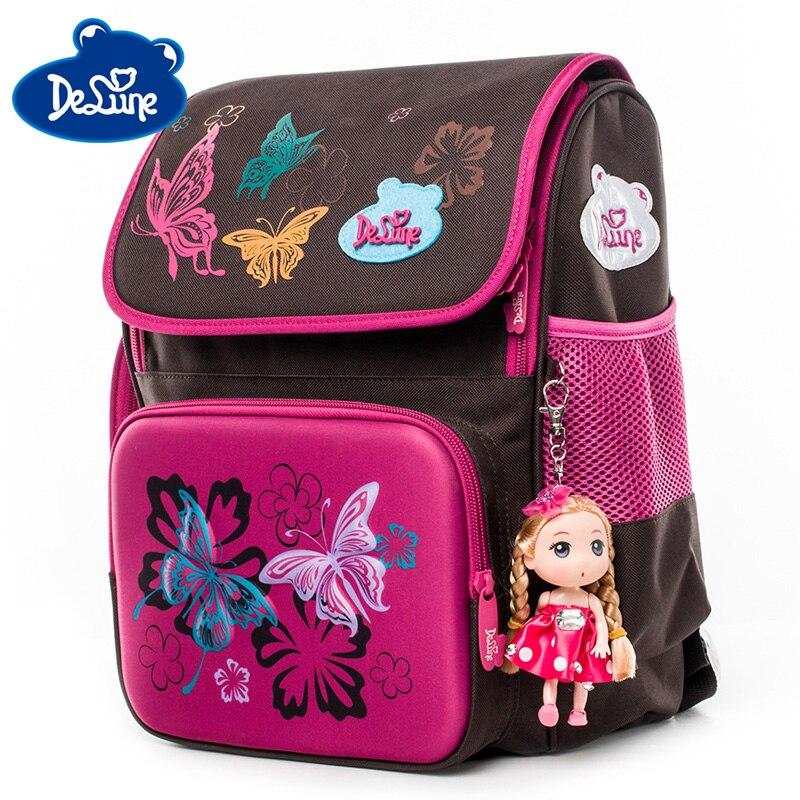 Delune School Bag Waterproof Backpacks For Girls Boys Butterfly Pattern Children Orthopedic Backpack Mochila Infantil Grade