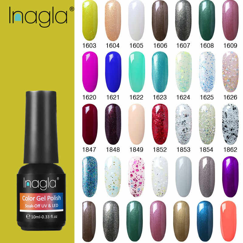 Inagla UV Nail Gel Polish COLOR gellak For Manicure 10ML UV Gel Nail Polish Pure Color Long Lasting LED Lamp Varnish Gel Lacquer