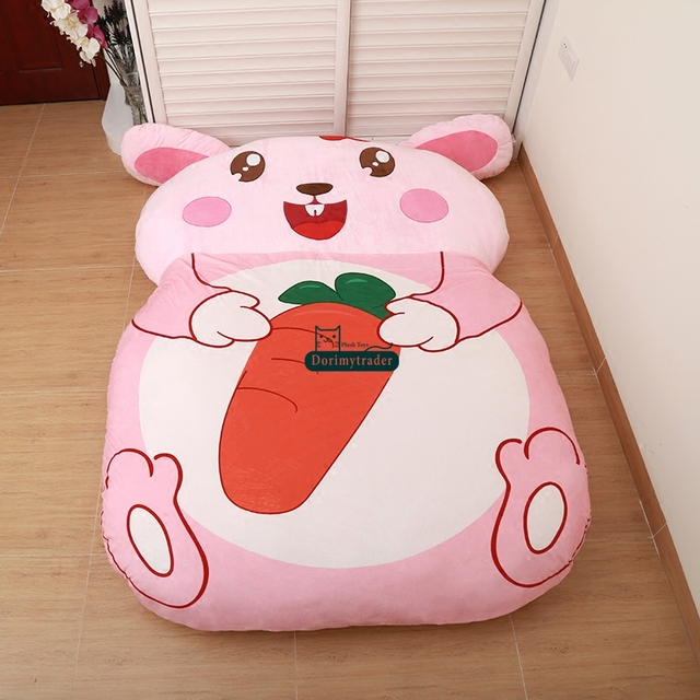 Dorimytrader cartoon animal pink rabbit beanbag soft plush for Cama kawaii