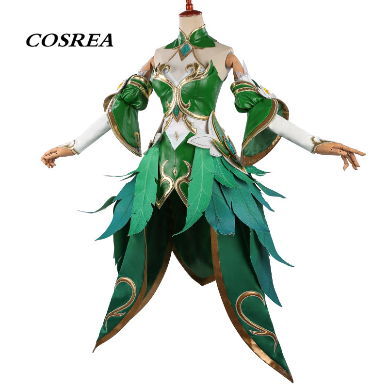 COSREA Hot Game Arena Of Valor Cosplay Costume Wang Zhaojun Arwen Princess Fancy Green Dress Costumes Halloween Party For Woman