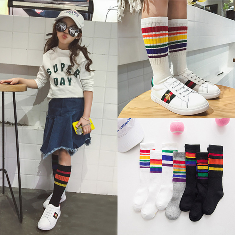 INPEPNOW 2019 Toddler Knee Socks Girls Kids Socks For Girls Striped Rainbow Socks Kids School Baby Child Boys Socks For Children