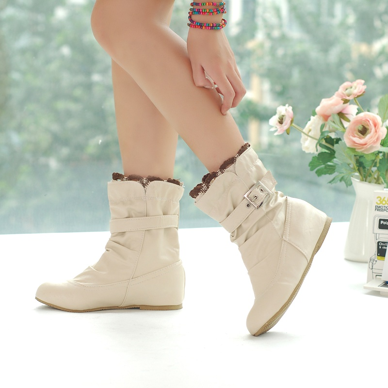 2016 new arrive soft leather ankle boots buckle women flats winter shoes ladies female autumn black,white,beige