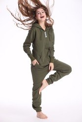 Nordic Manier Army Green Een Stuk Jumpsuit Hoodies Fleece Zip Vrouwen Mannen Romper