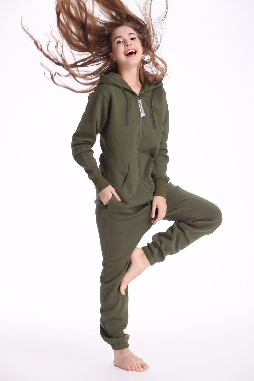 Nordic Way Army Green One Piece Jumpsuit Hoodies Fleece Zip Women Men Romper