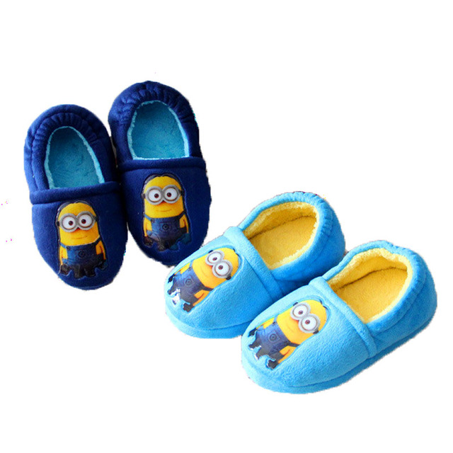 Winter Warm Shoes Home Shoes Cotton Slippers Children Slippers 2016 New Winter Wheat Minions Christmas Gift TCCS6089