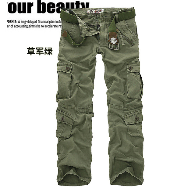 men's pants camping hiking Camouflage Cargo Pants Plus Size Multi-pocket Overalls Trousers 3