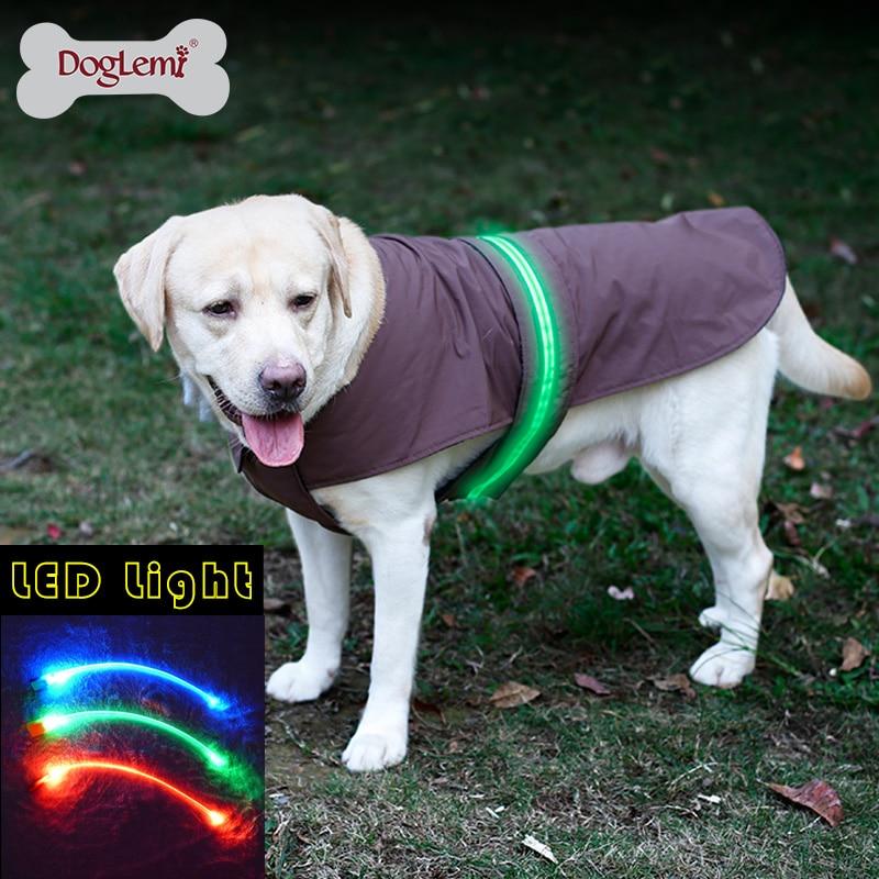 DogLemi LED 안전 개 조끼 자켓 비옷 겨울 애완 동물 옷 개와 고양이를위한 애완 동물 코트