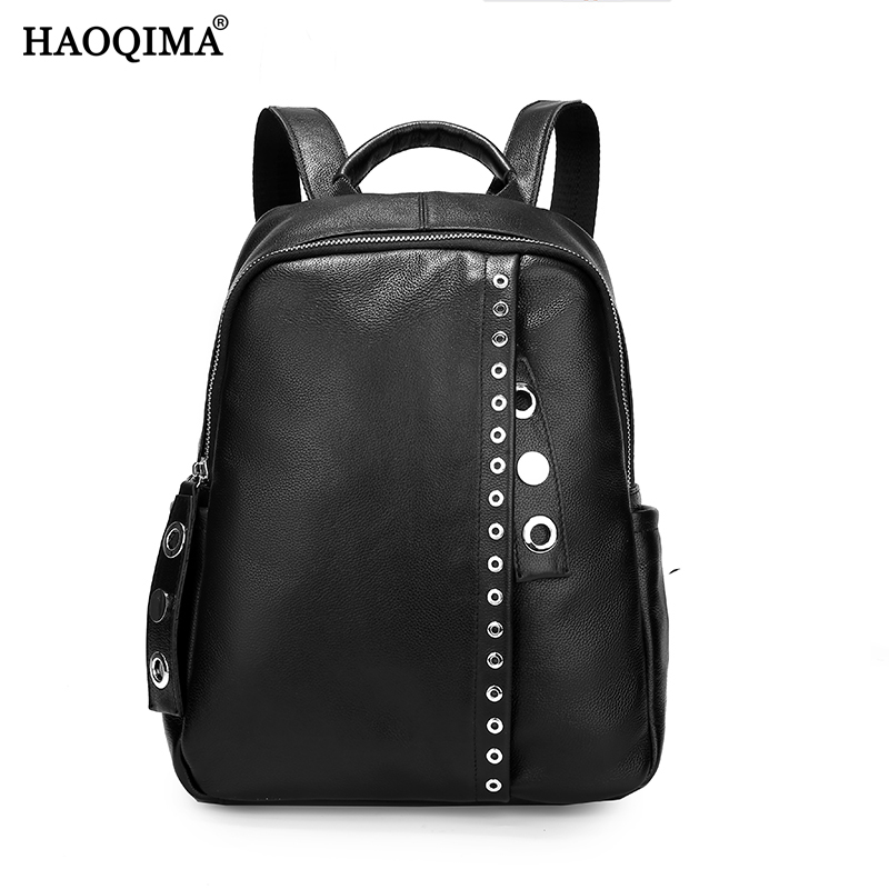 HAOQIMA Luxury Brand New Design 2017 Genuine Leather Women Backpack Young Girl School Bags