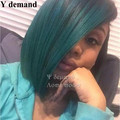Hot Sale!! Ombre Black/Light Green sythetic  Lace Front Wig Glueless Straight Short Bob Ombre Wig Short Wigs For Black Women