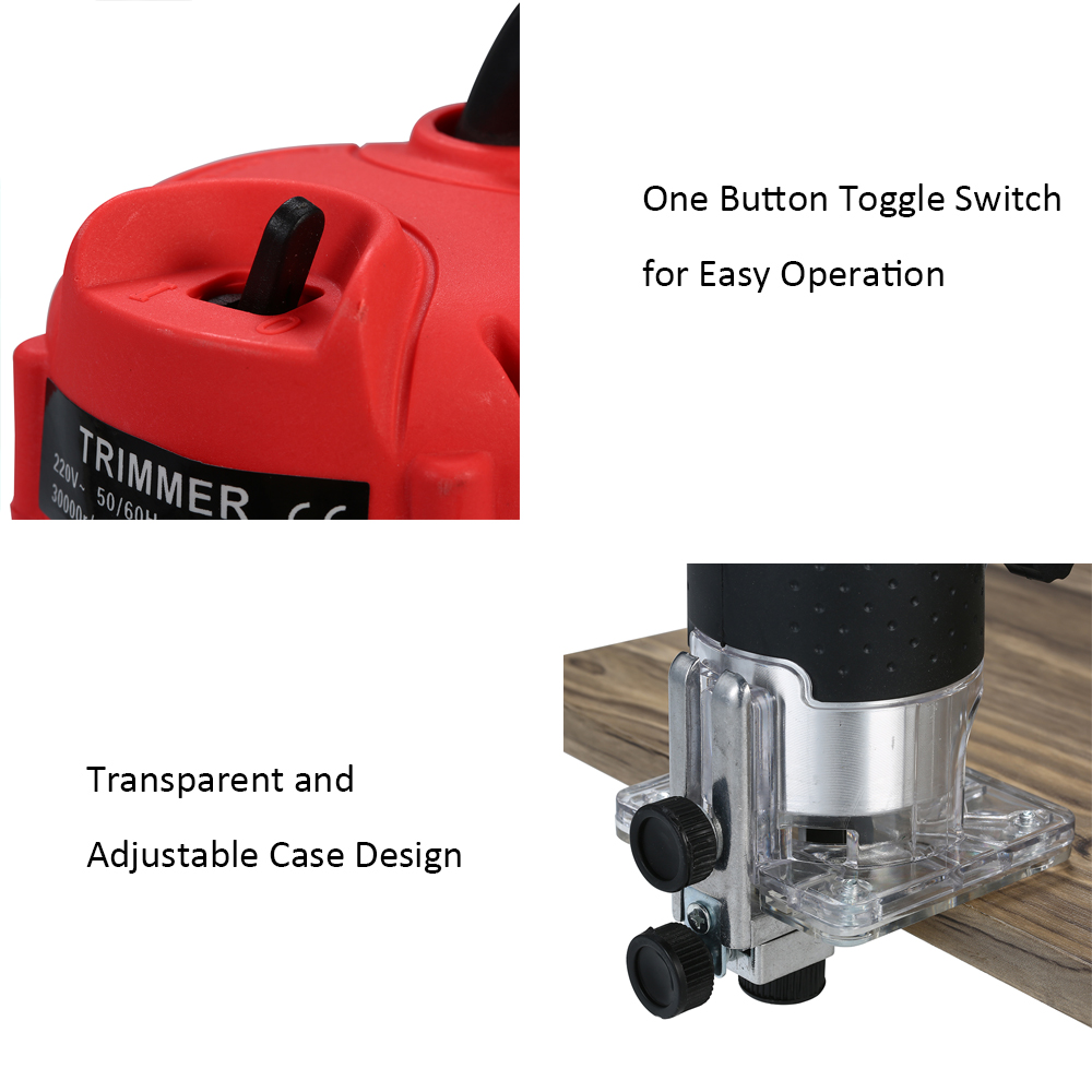 Image 3 - 220V 800W Electric Trimmer Handheld Laminate Edge Trimmer Collet Wood Router Woodworking Milling Engraving Slotting Machine-in Electric Trimmers from Tools on