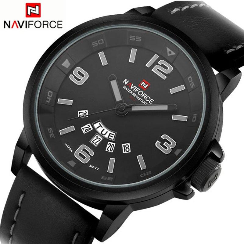 Prix pour 2017 naviforce casual montre top marque de luxe mode montres hommes sport quartz montre en cuir plongée montre-bracelet mâle relogio horloge