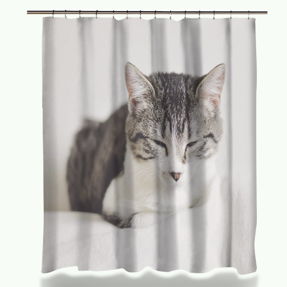 Miracille Shower Curtains Bath-Decor Customized Waterproof Polyester-Fabric with 12-Hooks