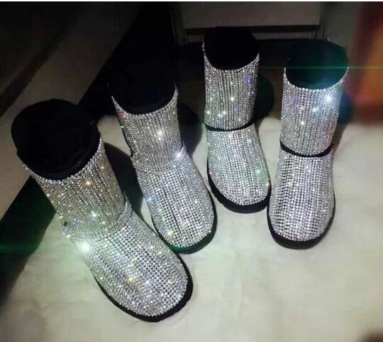 Winter Top Selling Women Flat Boots Bling Bling Beading Mid Calf Boots Fashion Round Toe Platform Fur Inside Leisure Warm Boots best selling top quality women hidden wedge winter warm snow boots plush inside platform round toe motorcycle boots shoes