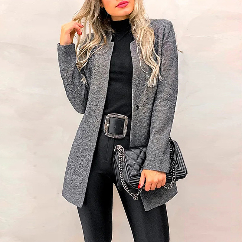 Fashion Solid Color Blazer Women Long Sleeve Autumn Winter Suit Coat Jacket Office Lady Business Cardigan Blazers Female 2020