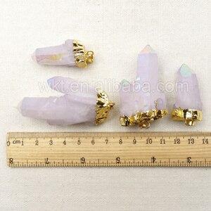 Image 5 - WT P1070 5pcs/lot Healing Angel Aura Spirit Quartz Pendant in random Shape, Natural Stone Aura Quartz Spirit  Gold Pendant