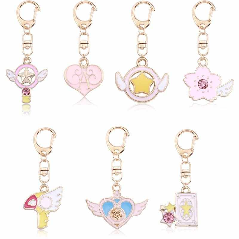 Cute DIY Anime Key Chains Pink Heart Variety Sakura Magic Card Keychain For Women Kawaii Gold Keyring Childhood Drop Shipping
