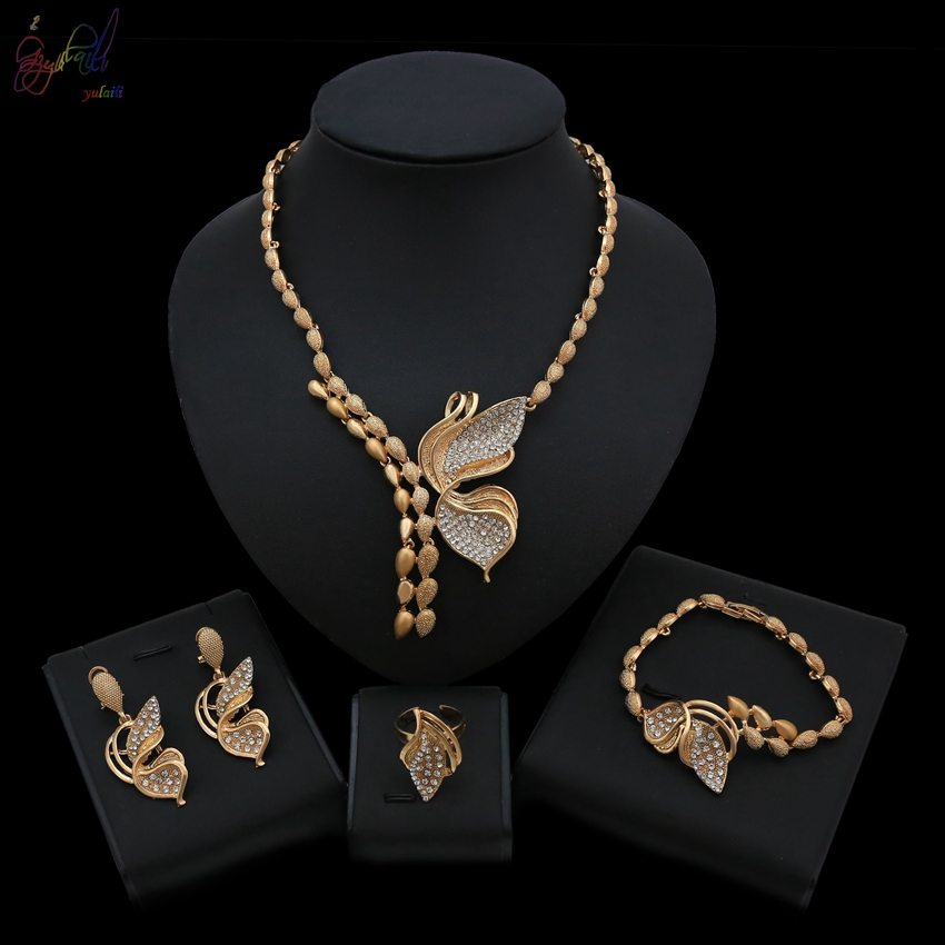 2a4e2eb3d7 Yulaili Three Fresh Rose Gold Color Flower Crystal High Quality Necklace  Bracelet Earrings Ring Jewellery Jewelry