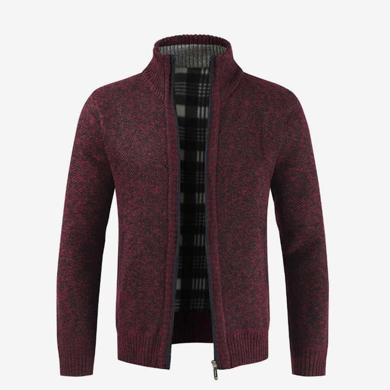 Толстые кашемировые Трикотажные мужские свитера Кардиган Осень черный на молнии вязаный свитер для мужчин 2019 модные теплые мужские кардиганы 3XL