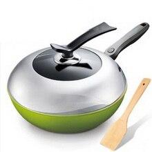281206/Сковорода/есть крышка кастрюли/нет покрытия масляных паров/антипригарная сковорода/равномерный нагрев/высококачественная нержавеющая сталь/