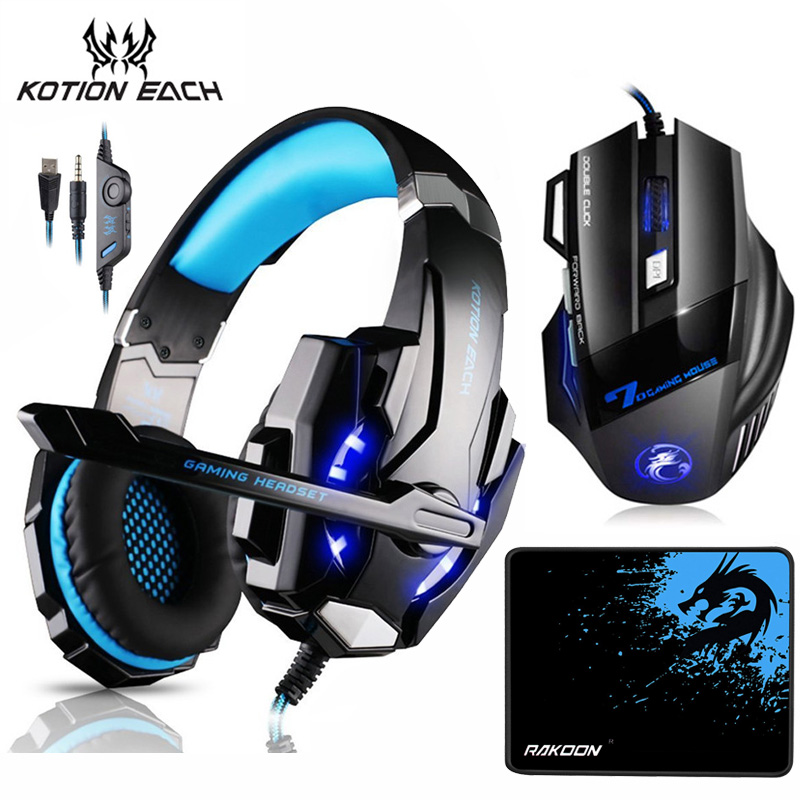 KOTION EACH Stereo Gaming Headset Deep Bass Headphones with Mic LED Light+7 Buttons 5500 DPI Gaming Mouse Mice+ Game Mouse Pad