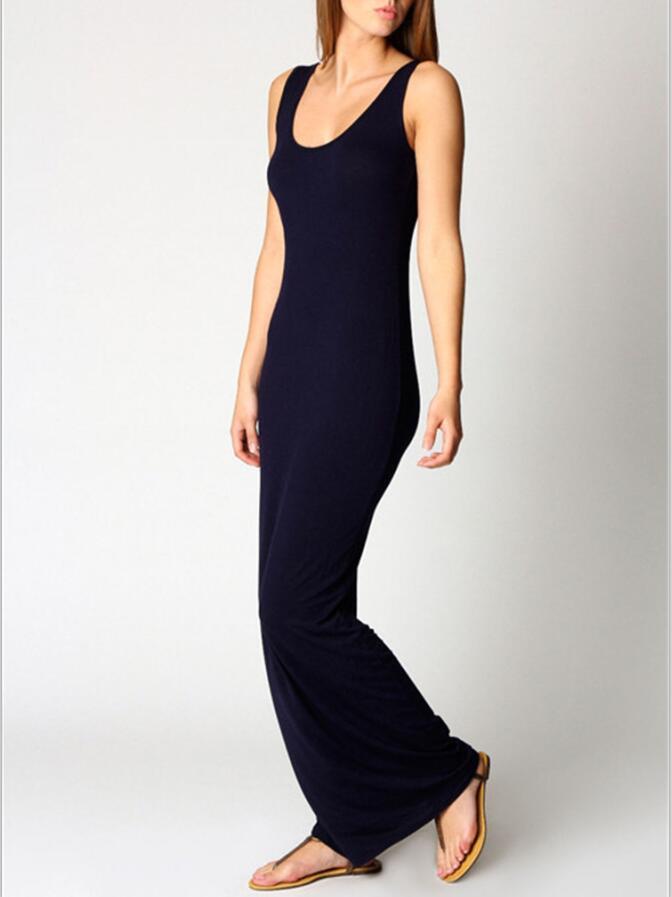 Multiple Cute Colors Ankle Length Slim Dress Women Package Hips Long Tank Woman Girl -1984