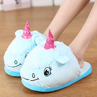 Unisex Great Warm Home Slippers Shoes Winter Indoor Slippers Plush Home Shoes Unicorn Slippers For Grown