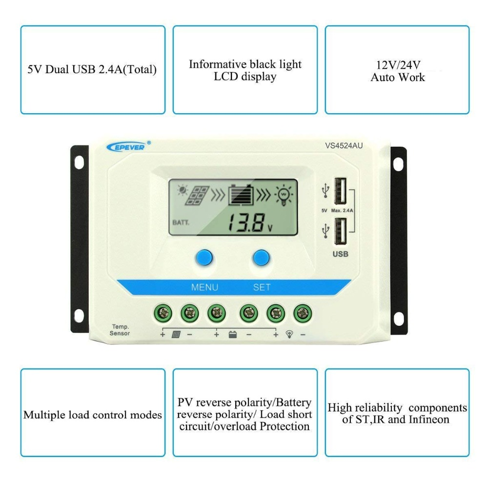 EPever 10A 20A 30A 45A 60A Solar Charge Controller 12V 24V Auto VS1024AU VS 2024AU VS3024AU VS4524AU VS6024AU PWM Rregulators