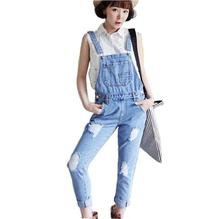 2017 new Spring and summer hole women denim overalls casual trousers female pants Siamese a273