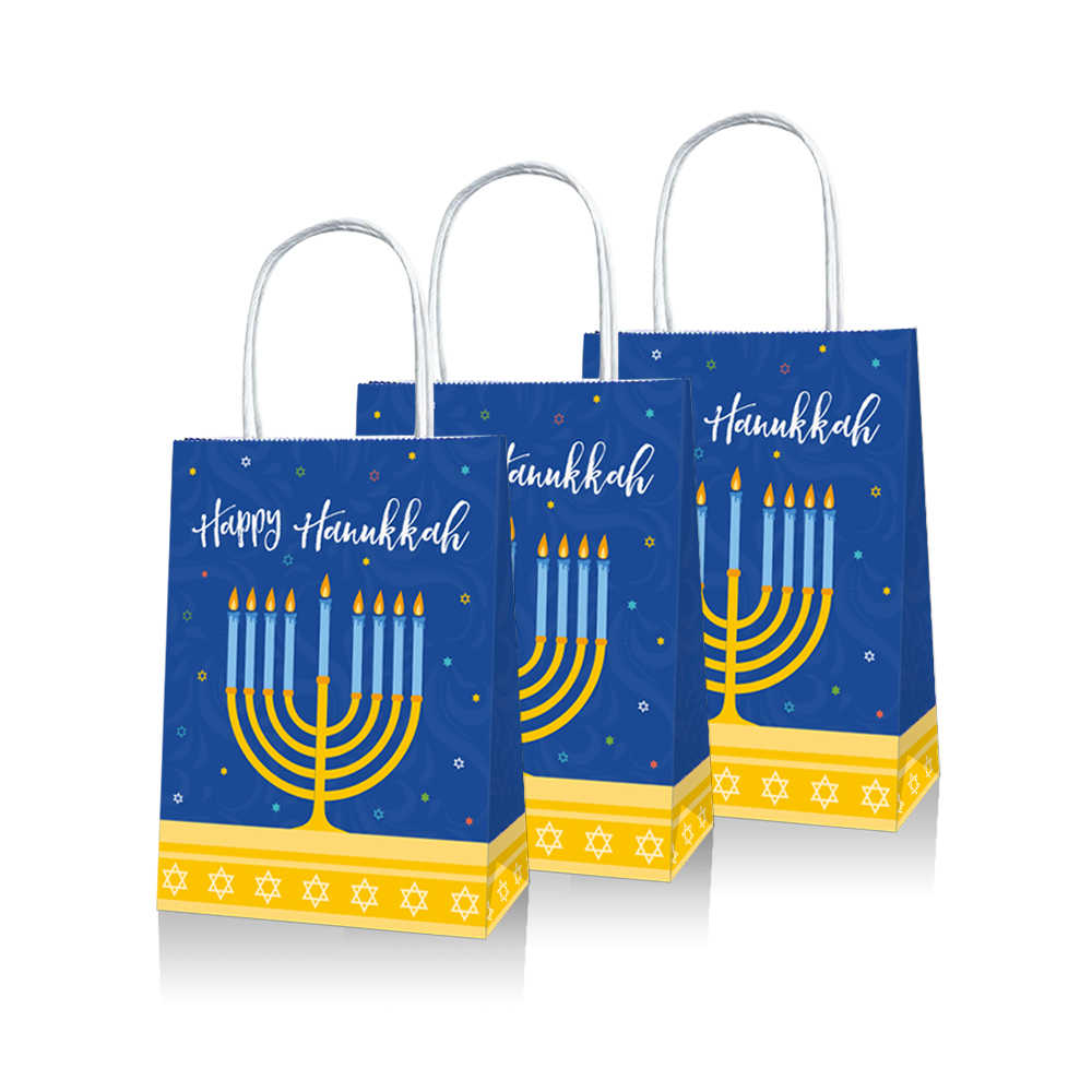 20pcs Hanukkah Theme Party Gift Bags Happy Hanukkah Candy Bags Chanukah Party Decorations Paper Gift Packing BD025
