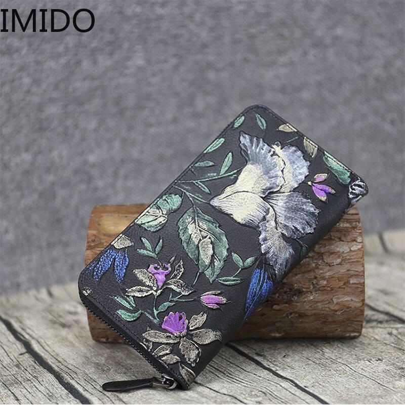 IMIDO 2019 nouveau sac à main en cuir de vent National mode Zipper Designer portefeuilles célèbre marque femmes portefeuille mode luxe voyage