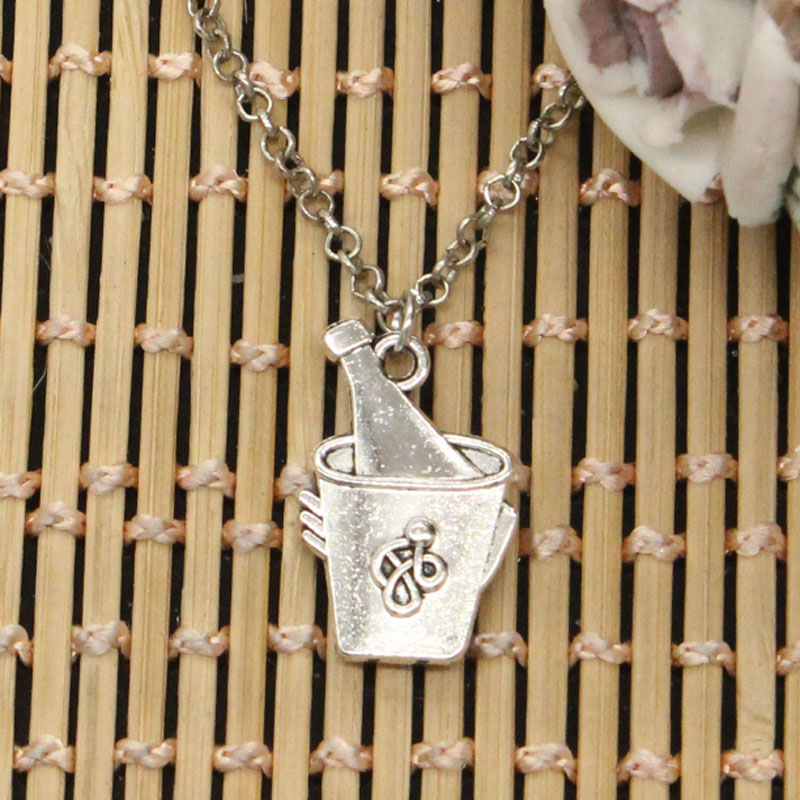 new fashion iced beer bucket Pendants round cross chain short long Mens Womens DIY silver necklace Jewelry Gift