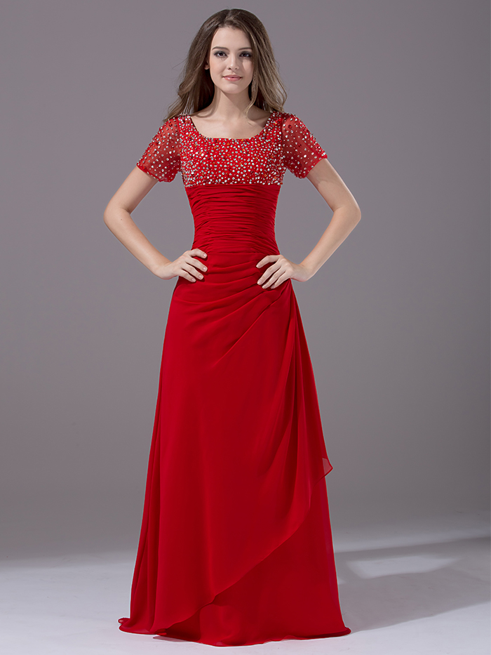 Popular Red Modest Bridesmaid Dresses-Buy Cheap Red Modest ...