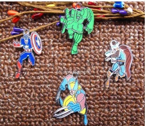 Novo lote 10 pcs vingadores Capitão América hulk DIY Colar corrente Chave dos desenhos animados Mais Populares brincos do Encanto do Metal Pingentes Fazer Jóias