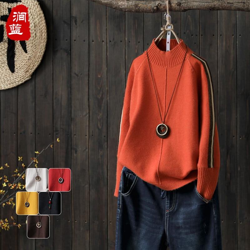 Lin Automne De Conception L'hiver Vintage 2 1 À Nouveau Tops Manches Turtelneck Base Coton Femelle Et Chandail 2018 Longues Pull cwtBqX0pw