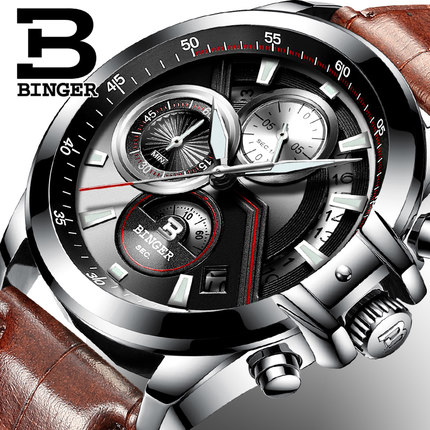 Fashion Switzerland Binger Brand Man Watches Quartz Watch Boy Student Multifunctional Waterproof Wristwatches For Men 2017 new binger fashion casual cow leather watches waterproof wristwatches hours for man sapphire orange quartz watch