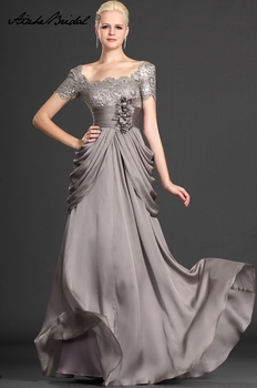 Mother Of The Groom Dresses Elegant A Line Cap Sleeve Gray Lace Chiffon of the Bride Dress