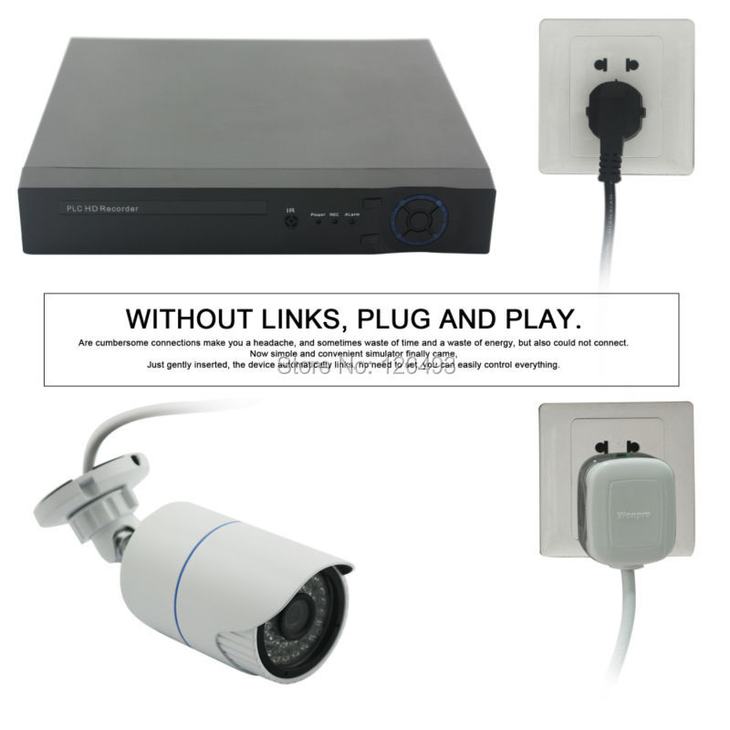 4CH H 264 IR night vision 720P plug and play CCTV high speed Power Line Network