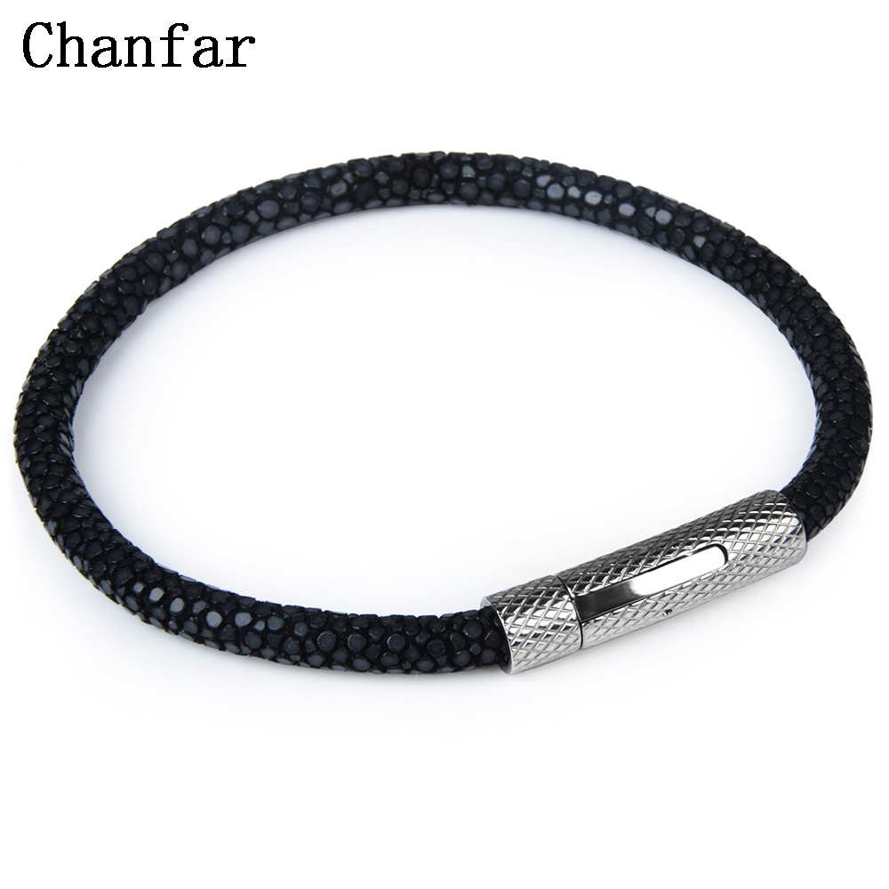 Chanfar Luxury Genuine Leather Stingray Bracelet Men Charm Strap Titanium Steel Bracelet Bangle Women Jewelry Wholesale
