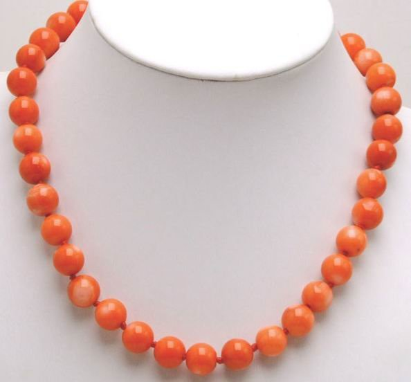 Qingmos 12-13mm High Quality Round Pink Natural Coral 18 Chokers Necklace For Women-5214_3 Wholesale/retail Free ShippingQingmos 12-13mm High Quality Round Pink Natural Coral 18 Chokers Necklace For Women-5214_3 Wholesale/retail Free Shipping