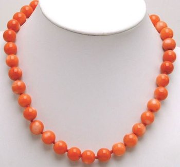 "Qingmos 12-13mm High Quality Round Pink Natural Coral 18"" Chokers Necklace For Women-5214_3 Wholesale/retail Free Shipping"
