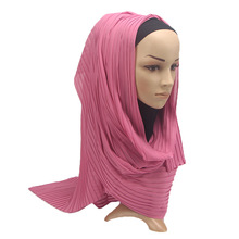 23 Colors Chiffon Fold Full Cover Muslim Head Scarf For Women's  Arab Hui Nationality Hijabs Scarves Islamic Clothing Accessory